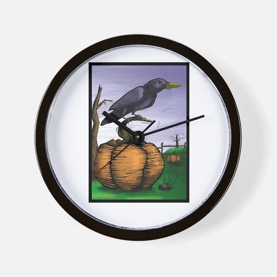 Halloween Crow Wall Clock