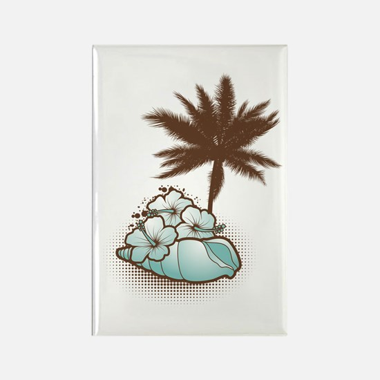 Hibiscus,seashell and palmtree in blue Rectangle M