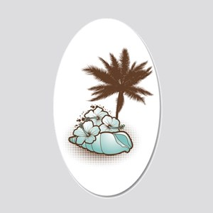 Hibiscus, seashell and palmtree orange 22x14 Oval