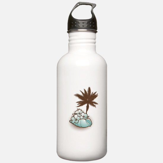 Hibiscus,seashell and palmtree in blue Water Bottle
