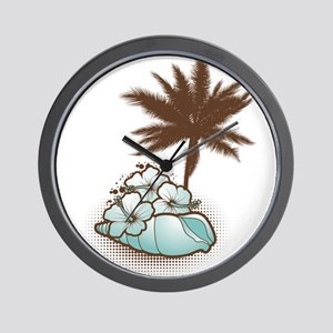 Hibiscus,seashell and palmtree in blue Wall Clock