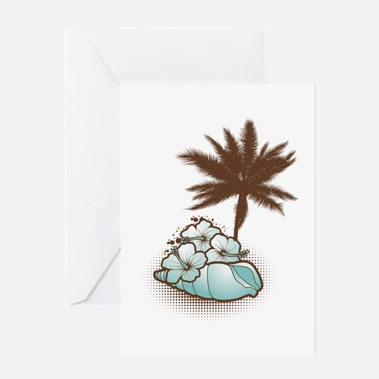 Hibiscus,seashell and palmtree in blue Greeting Ca
