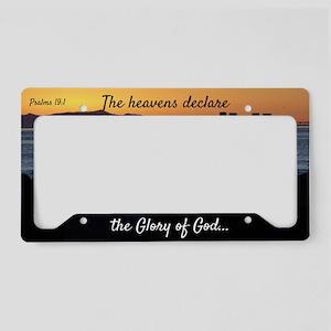 Sunset Silhouette Psalms 19:1 License Plate Holder