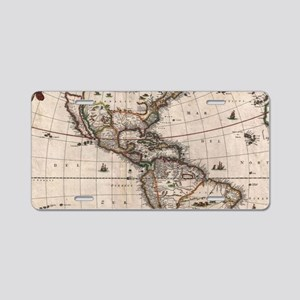 Vintage Map of North and So Aluminum License Plate