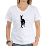Great Dane Breast Cancer Support Women's V-Neck T-