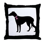 Greyhound Breast Cancer Support Throw Pillow