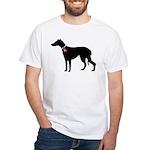 Greyhound Breast Cancer Support White T-Shirt