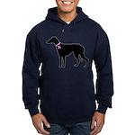 Greyhound Breast Cancer Support Hoodie (dark)