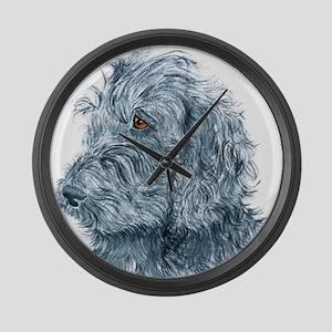 Black Labradoodle #2 Large Wall Clock