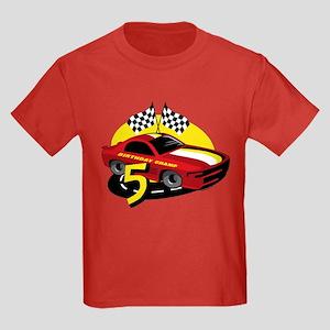 Race Car 5th Birthday Kids Dark T-Shirt