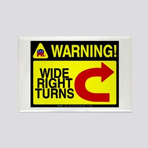 Warning Wide Right Turns Rectangle Magnet