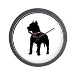 Pitbull Terrier Breast Cancer Support Wall Clock