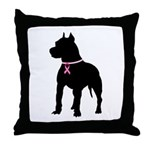Pitbull Terrier Breast Cancer Support Throw Pillow