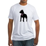 Pitbull Terrier Breast Cancer Support Fitted T-Shi