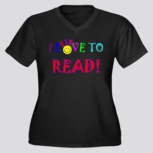 Love to Read Women's Plus Size V-Neck Dark T-Shirt