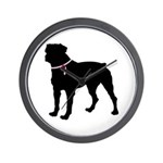 Rottweiler Breast Cancer Support Wall Clock