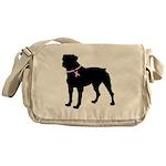 Rottweiler Breast Cancer Support Messenger Bag