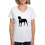 Rottweiler Breast Cancer Support Women's V-Neck T-