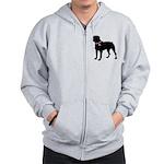 Rottweiler Breast Cancer Support Zip Hoodie
