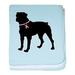 Rottweiler Breast Cancer Support baby blanket