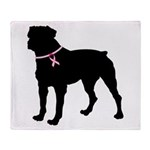 Rottweiler Breast Cancer Support Throw Blanket