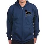 Rottweiler Breast Cancer Support Zip Hoodie (dark)