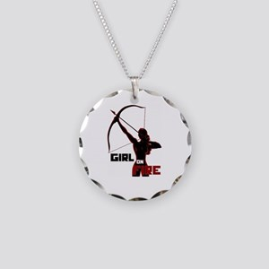 Katniss Girl on Fire Necklace Circle Charm