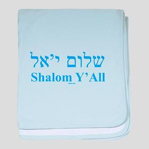 Shalom Y'All English Hebrew baby blanket