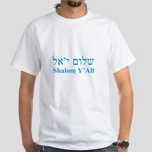 Shalom Y'All English Hebrew White T-Shirt