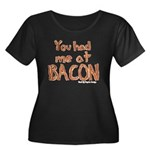 Bacon Women's Plus Size Scoop Neck Dark T-Shirt