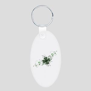 Elegant Shamrock Aluminum Oval Keychain