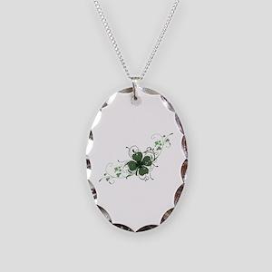 Elegant Shamrock Necklace Oval Charm