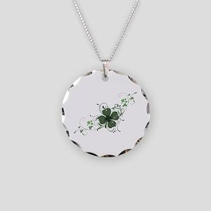 Elegant Shamrock Necklace Circle Charm