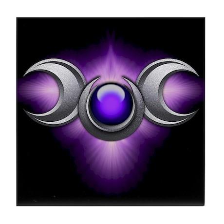 Purple Pagan Triple Goddess Tile Coaster