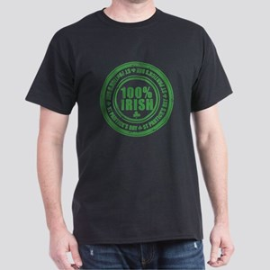 St Patrick's Day 100% Irish Stamp Dark T-Shirt