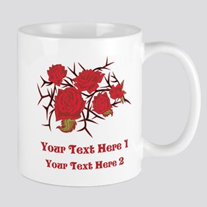 Red Roses and Red Text. Mug