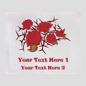 Red Roses and Red Text. Throw Blanket