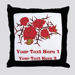 Red Roses and Red Text. Throw Pillow