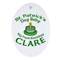 CLARE Personalized Ornament (Oval)