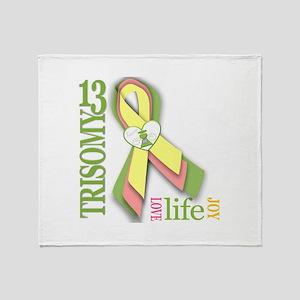 Trisomy 13 Awareness Ribbon Throw Blanket