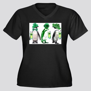 Irish penguins Women's Plus Size V-Neck Dark T-Shi