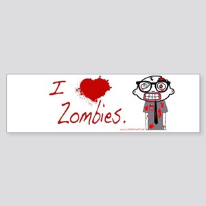 Zombie Nerd. (I heart Zombies) Sticker (Bumper)