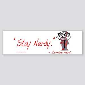 Zombie Nerd. (Stay Nerdy) Sticker (Bumper)
