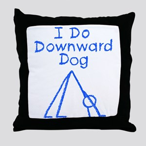 Blue Downward Dog Throw Pillow