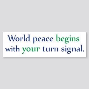 World Peace Turn Signal Bumper Sticker