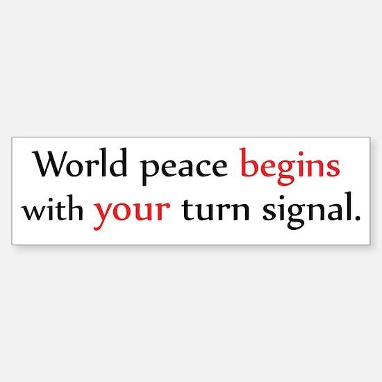 World Peace Turn Signal Bumper Bumper Bumper Sticker