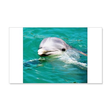 Dolphin in Caribbean Blue Wat 22x14 Wall Peel