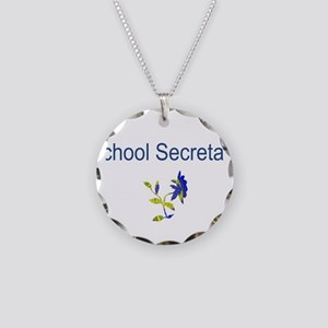 School Secretary Flower Necklace Circle Charm