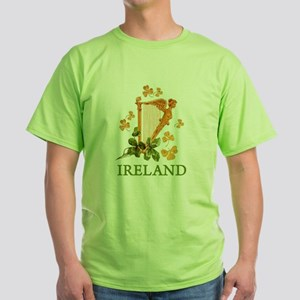 Ireland - Irish Golden Harp Green T-Shirt