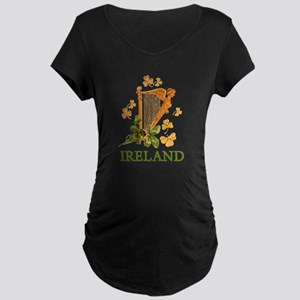 Ireland - Irish Golden Harp Maternity Dark T-Shirt